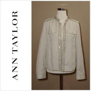 Ann Taylor Cream Jeweled Jacket